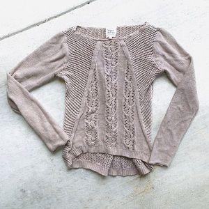 Open knit tan sweater adult large women's